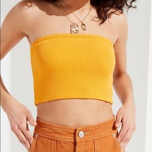 Urban Outfitters mustard yellow cropped tube top